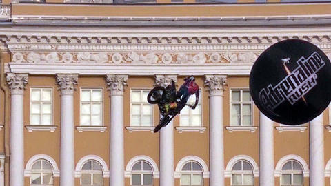 St. Petersburg, Russia, July 04 2015: Extreme show. FMX show Adrenaline FMX Rush Live Action
