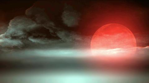 redmoon on the fog Stock Video Footage