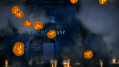 Horror House With Pumpkin stock footage