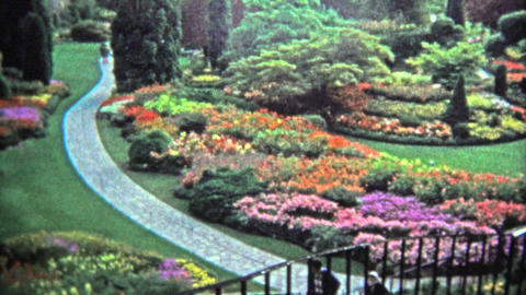 VICTORIA, BC - 1972: World famous Butchart Gardens in Brentwood Bay, British Col Footage