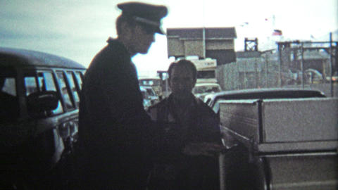 VICTORIA, BC - 1972: US customs check inspection from Canada border entry Footage