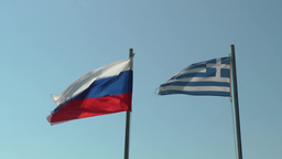 Greek and Russian flags Footage