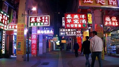Macau - 19 October 2013: Colorful LED Shop Signs At Night stock footage