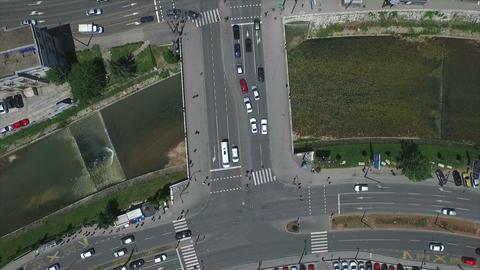 Traffic Aerial 90 Degrees Angle stock footage