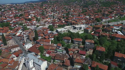 Sarajevo houses aerial - slow motion Footage