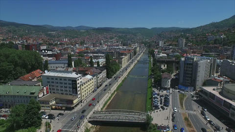 Sarajevo river and bridges aerial Footage