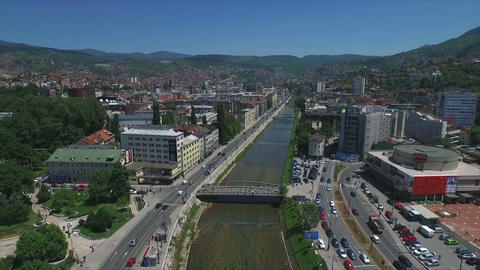 Sarajevo river and bridges aerial - slow motion Footage