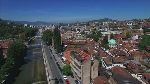 Sarajevo Old Town Aerial - slow motion Footage