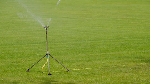 Sprinkler Waters Grass stock footage