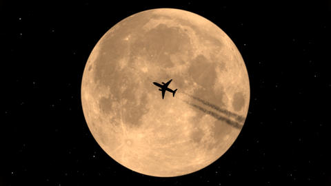 Flying Plane On Background Of The Moon Animation