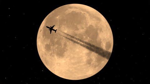 Flying Plane On Background Of The Moon Stock Video Footage