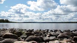 Rocks at a lake Footage