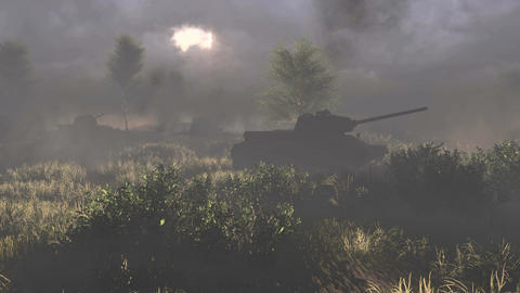 Russian tanks T 34 crossed the battlefield Live Action