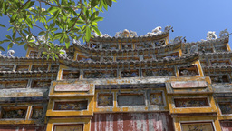 Gate in Imperial City - tilt shot from down to up, Hue, Vietnam Footage