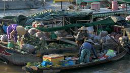 Traditional Floating Market on Mekong Delta Footage