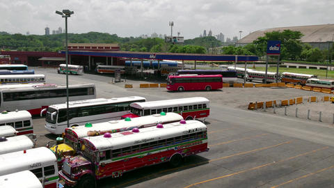 Bus Terminal For Travelers With Gas Station In Panama City stock footage