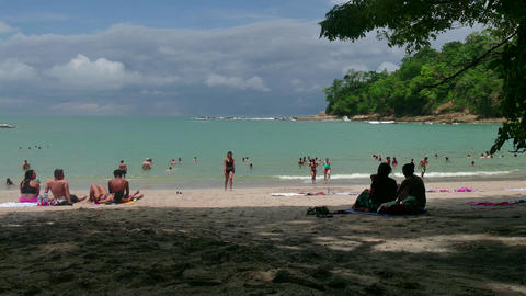 Manuel Antonio National Park Costa Rica People Swimming On Beach Footage