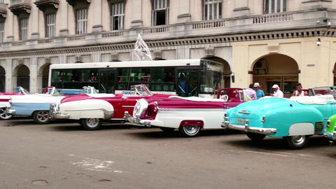 Old Taxis Cabs 1950s Cars For Tourists In Havana Cuba Footage