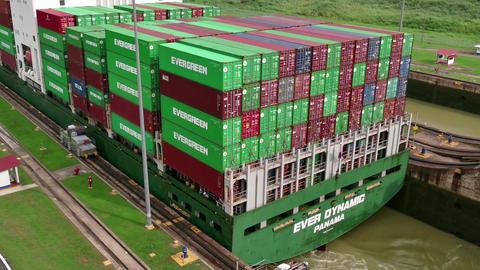 Panama Canal Cargo Ship Boat Sea Commerce Ocean Trade Navigation Footage