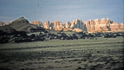 1971: Entering Canyonlands National Park with spectacular rock formations Footage