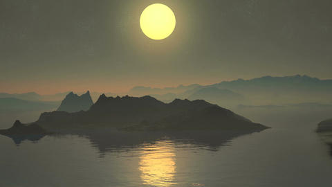 Colorful sunset over the mountain lake Animation