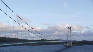 suspension bridge norway distant view Footage
