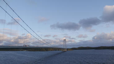 Suspension Bridge Norway Bus Passing By stock footage