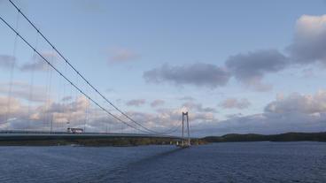 suspension bridge norway bus passing by Footage