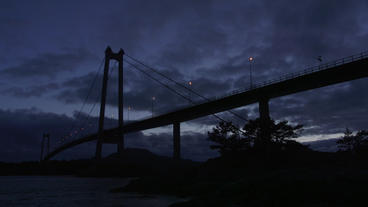 suspension bridge late evening silhouette view Footage