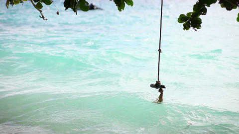 Swing-rope At The Beach stock footage