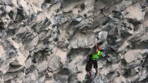 Confident Rock Climber During Basalt Of Tungurahua Competition Footage
