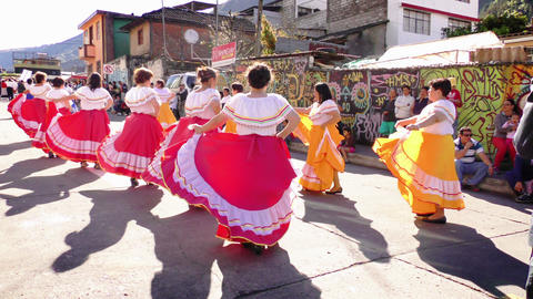 Old Generation Of Students Dancing For Sagrado Corazon 100Th Anniversary 4K Slow Live Action