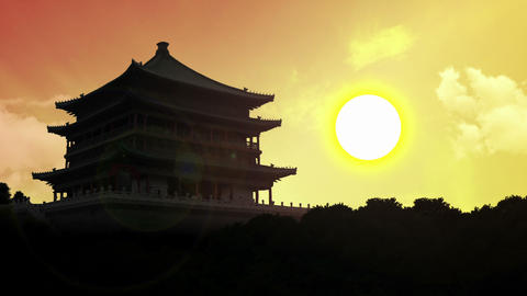 Temple Sunrise Timelapse - 4k Animation