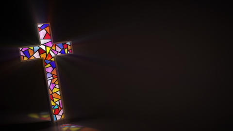 Stained glass window in the shape of a cross rotates slowly Animation