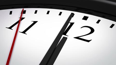 Close-up of a clock striking twelve, Stock Animation