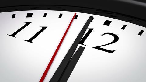 Close-up of a clock striking twelve Animation