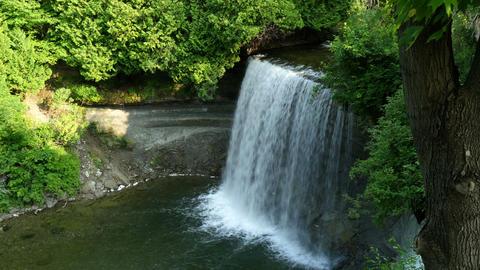 Breidal Veil Falls Waterfall View From Top stock footage