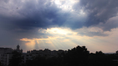 Storm Clouds And Sunset Over The City Silhouette stock footage