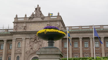 Swedish Parliament Building Stockholm Front Flowers View stock footage