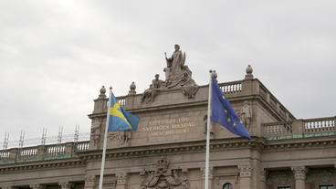 Swedish Parliament Building Stockholm Flags View stock footage