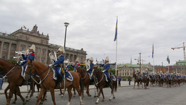 King Guard Stockholm Sweden Riding Horses stock footage