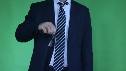 businessman showing keys green screen Footage