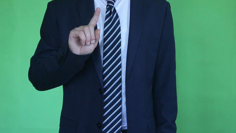 businessman touch screen on green screen Footage