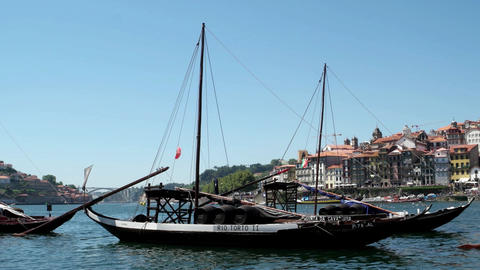 Douro river and traditional boats Footage