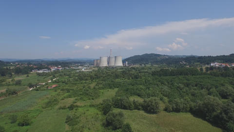 Thermal power plant aerial footage Live Action