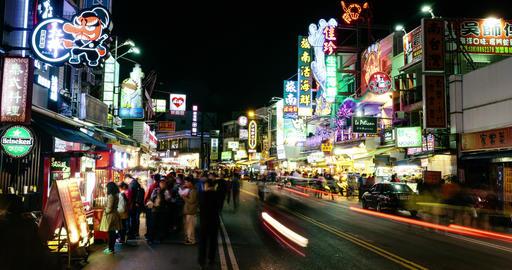 Timelapse View Of Kenting Night Market At Night. 4K Footage