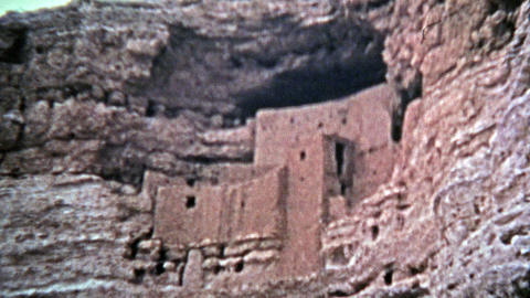1972: Montezuma Castle national monument cliff dwellings from native american pe Footage