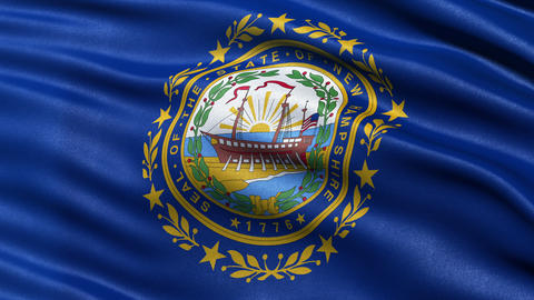 4K New Hampshire state flag seamless loop Ultra-HD Animation