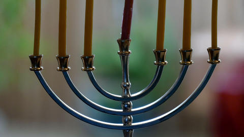 Candlestick with 7 candles (menorah) Footage