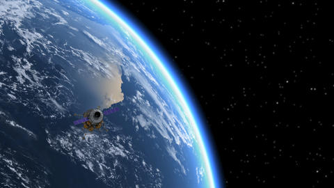 Space Station Flying To The Moon Animation